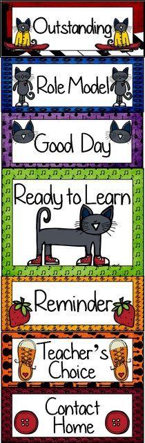 Cool Cat Themed Behavior Clip Chart Classroom Management Tool