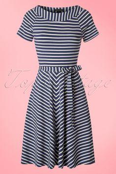 King Louie Navy Blue and White Sailor Striped Skater Dress jurk donker blauw en wit strepen