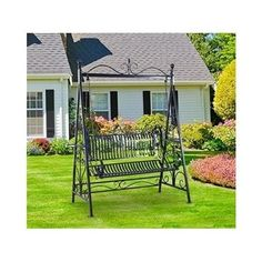 Garden Swing Chair Metal Cast Iron Outdoor Furniture Vintage Two Seat Hammock