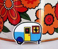Vintage Caravan Shrink Plastic Brooch - Made To Order by Rose Hudson