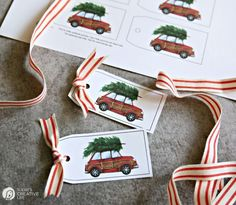 Free Holiday Gift Tags | Free Printable red car and Christmas tree holiday tags for easy gift wrapping. I've got SO many free printable gift tags! Choose your style! TodaysCreativeLife.com