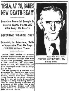 nikola tesla death ray newspaper - Google Search