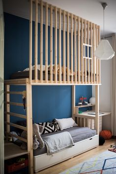 With this great DIY loft bed in the children's room, all this is a no brainer. To be found in the beautiful home of Burgsonworld.😊🛏️🌟 bed bed roomAim high w Girls Bedroom, Bedroom Decor, Ikea Bedroom, Bedroom Furniture, Boy Bedrooms, Kids Room Design, Kid Beds, Boy Room, Couch