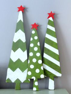 Paint your own wooden Christmas trees. Stripes and dots are a crafty theme for the holidays.