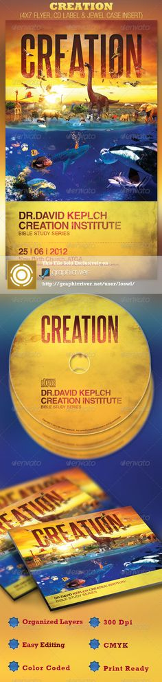 This Creation Church Flyer and CD Label is sold exclusively on graphicriver, it can be used for your Bible Studies, Sermons, Audio Books, Youth programs, etc. In this package you'll find 3 Photoshop files. All text and graphics in the files are editable, color coded and simple to edit. The file also has 5 one-click color options. - Price: $7.00