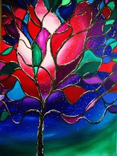 Stained Glass Tree-repost by *Inkeriart