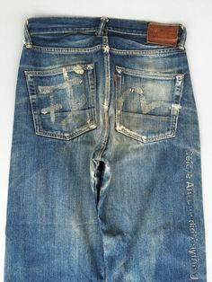 Evisu, Japanese Denim, Ripped Denim, Honeycomb, Blue Jeans, Thighs, Legs, Clothing, Pants