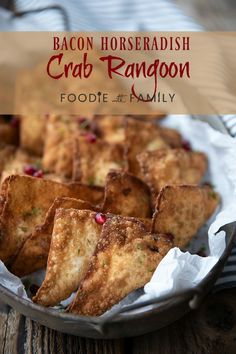 Crispy, crunchy wontons stuffed with an irresistible filling of cream cheese, crab meat, savoury bacon, and zingy horseradish make this a great twist on the classic Crab Rangoon. Easy Weekday Meals, Easy Meals, Fun Easy Recipes, Asian Recipes, Breakfast Recipes, Dinner Recipes, Crab Meat, Family Meals, Family Recipes