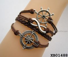 Rudder bracelet, braided infinity bracelet, antique compass bracelet, bijuteria, gift ideas for boyfriend, birthday gifts for boyfriend by TheOneUnique, $4.59