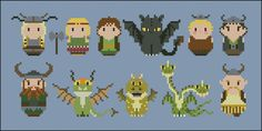 A cute cross stitch pattern featuring Ruffnut from Ruffnut and Tuffnut, Astrid, Hiccup Horrendous Haddock III, Toothless the Night Fury, Meatlug, Snotlout and then Stoick the Vast, Terrible Terror, Gronckle, Hideous Zippleback and Gobber the Belch