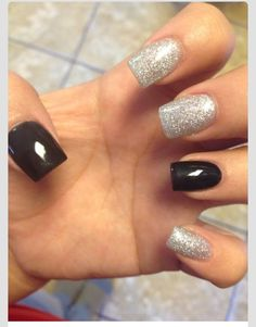 Black and silver sparkles #nails #grunge