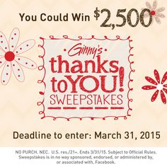 Enter for a chance to win $2500 in theThanks to YOU Sweepstakes!WONDERFUL GIVEAWAY! Enter here http://shout.lt/wWSs For Your Chance To Win! YOU KNOW THAT I MOST DEFINITELY ENTERED THIS!!!! Thanks, Michele :)