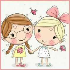 Find Two Cute Cartoon Girls Keep Hands stock images in HD and millions of other royalty-free stock photos, illustrations and vectors in the Shutterstock collection. Cartoon Cartoon, Cute Cartoon Girl, Cartoon Drawings, Cute Drawings, Cute Images, Cute Pictures, Friends Forever, Best Friends, Sketch Manga