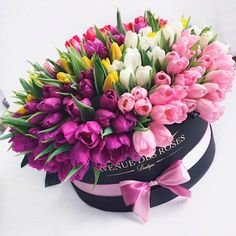 bouquet of tulips of different colors