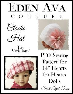 Cloche Hat for Les Cheries and Hearts for Hearts Dolls