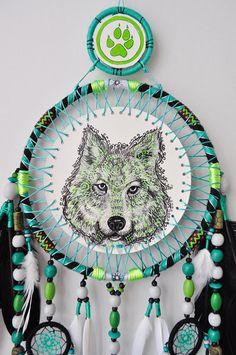 Wolf Dream Catcher GLOWS in the DARK Large Dreamcatcher