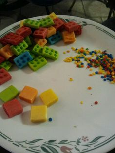 Lego candies from starbursts ,chewy jolly ranchers and sprinkles