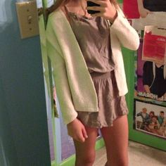 """Brandy Oatmeal Caroline Cardi Traded for this, was told it was a """"shorter version"""" of the Caroline cardigan but idk if there is a shorter version!! But this is how it fits me and I am almost 5'2 for reference!! Only looking to trade this or sell for a good price!! Brandy Melville Sweaters"""