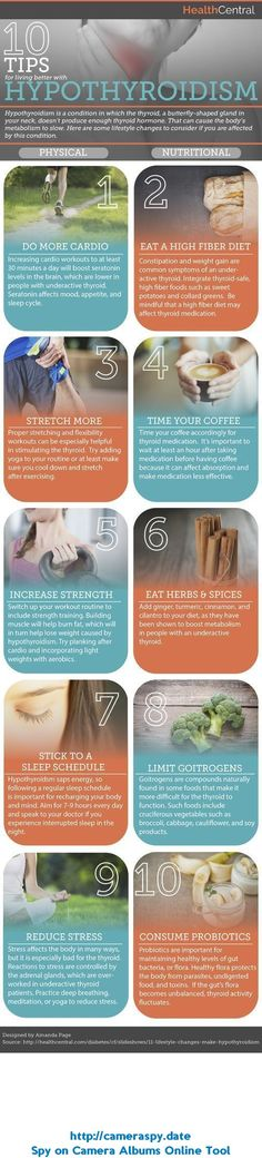 Leading an overall healthy lifestyle, that includes eating well and exercising, can help you manage hypothyroidism. But what else can you do to live well with hypothyroidism? This Inforgraphic will take you through 10tips for living better with hypothyroidism! Source: s-media-cache-ak0...