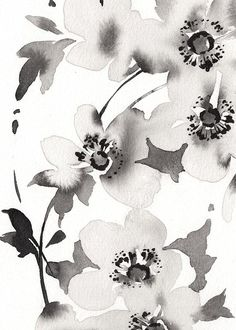 Black Flowers Painting, Original Watercolor by artist Anja Boban, One of a Kind Watercolor Painting.Modern Florals Original Artwork, Botanical Watercolour Painting.Size:approx 11.1 x 15 inch (28,3 cm x 38,1 cm)Medium: professional watercolor paints on 100% cotton Archivalcold press Canson paper 140 lb (300 gsm).Signed Front.To protect your watercolor glaze it with UV protective glass or plexiglass.KINDLY - NOTEThe artwork is not framed! You will receive ONLY the artwork.Please note every compute Watercolor Plants, Watercolor Wallpaper, Abstract Watercolor, Watercolor Paintings, Abstract Paintings, Oil Paintings, Painting Art, Landscape Paintings, Black And White Painting