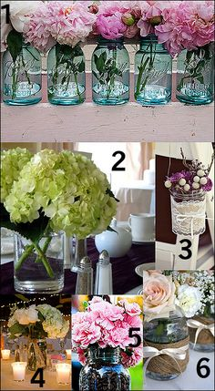 Use glass mason jars as the perfect vessel for your floral table centerpieces.