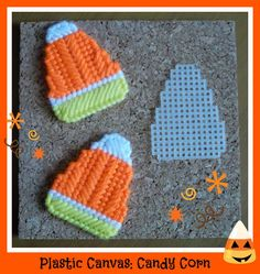 Plastic Canvas: 3 Candy Corn motifs. . .LOVE sewing these. . .fridge magnets, plant pokes, pencil toppers, mini ornaments and more!
