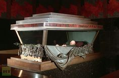 Lenin's body rests inside the ornate sarcophagus pictured in Moscow, Russia.