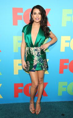 Lea Michele…hot outfit. Nice blend of asian print.