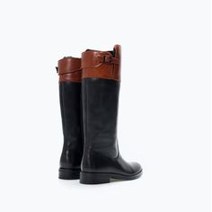 ZARA - SHOES & BAGS - COMBINED SOFT LEATHER BOOTS WITH LINING