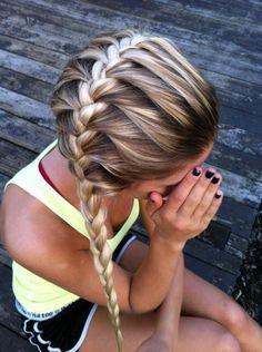 Side french braid. @Joanna Szewczyk Szewczyk Gierak Szewczyk Gierak Szewczyk Gierak Shipman you will do this to my hair every softball game