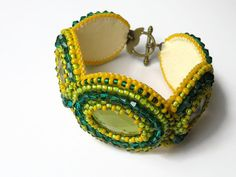 Green and Yellow Beaded Cuff Bracelet Bead by Carramela on Etsy