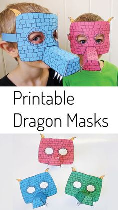 Printable Dragon Mask for Kids is part of Quick Kids Crafts Fun One of my boys' favorite crafts from my papercraft pack is the dragon mask I decided to create fullcolored versions of this printab - Printable Crafts, Printables, Fairy Tale Crafts, Dragons, Chinese Crafts, Dragon Mask, Dragon Party, Dragon Crafts, Paper Crafts For Kids