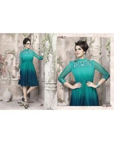 Sea Green Color Georgette Fabric Kurti