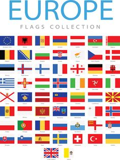 View top-quality illustrations of All World Flags Illustration. Flags Of European Countries, Countries Of Asia, European Flags, Countries And Flags, Geography Map, World Geography, All World Flags, Flag Of Europe, Flags With Names