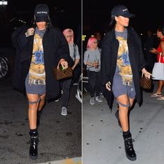 Rihanna Mathew Adams Dolan black oversized jacket, Tupac vintage t-shirt, Fenty x Puma wedge boots, Bathory hat, Louis Vuitton Twisted Box handbag