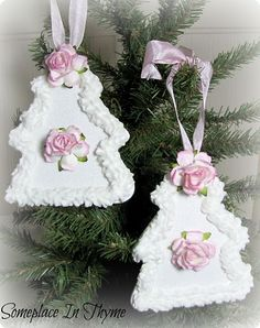 Set Of Wooden Tree Ornaments-ornaments,wood,white,roses,ribbon,glitter,Christmas,gift,holiday,decor,tree,decoration,handmade,cottage,shabby,chic,