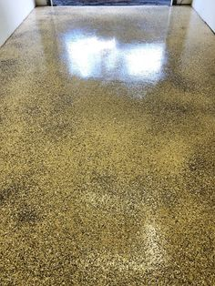 """Grizzly"" colored polyurea flake system from Legacy Industrial. The floors were lightly honed and waterproofed with Creto DPS prior to the coating application. Garage Floor Coatings, Workshop Storage, Floors, Concrete, Industrial, Deep, Projects, Glitter, Home Tiles"