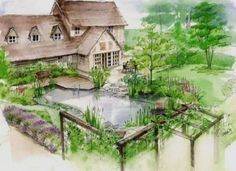 beautiful hand drawn perspectives by Helen Thomas Garden Design - Garden Drawing Raised Bed Garden Design, Cottage Garden Design, Modern Garden Design, Landscape Design, Vegetable Garden Planning, Vegetable Gardening, Gardening Tips, India Landscape, Garden Drawing