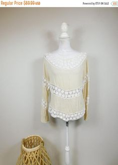 50% OFF WINTER SALE Vintage 90s White Cream Sunflower Floral Print Sheer Crochet Trim Bell Flare Long Sleeve Blouse Shirt Top Sz Medium by WearingMeOutVtg on Etsy Vintage Hippie, Printed Denim, Green Wool, Winter Sale, Crochet Trim, Wide Leg Trousers, Shirt Blouses, Lace Skirt, Flare