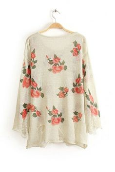 REGISTER ON PERSNMALL.COM Fresh Flower Print Knitted Sweater