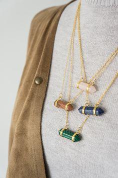 Gemstone Necklace Birthstone Necklace Amethyst Necklace Quartz Necklace Opal Necklace Aventurine Necklace Boho Necklace Tribal Necklace (24.00 USD) by oliki