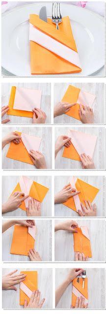 Napkin Folds - 15 Folding Tutorials for Special Occasions Easy Napkin Folding, Papier Diy, Diy Jewelry To Sell, Diy Crafts To Do, Wedding Napkins, Handmade Home Decor, Blog, Napkin Ideas, Diy Silvester