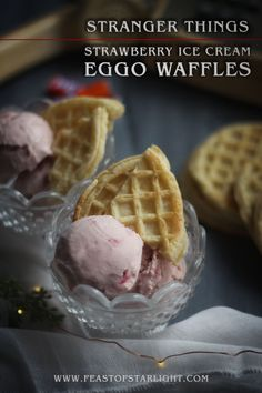 Stranger Things Feast: Strawberry Ice Cream and Eggo Waffles Stranger Things Premiere, Fresh Strawberry Recipes, Eggo Waffles, Stranger Things Halloween, Food Menu, Sweet 16, Food Inspiration, Baking Recipes, Food And Drink