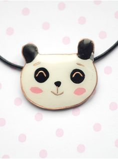Panda necklace white black polymer clay pendant by CloverPowers