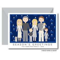 Greeting Card - Custom Illustrated Family Portrait - Custom Portrait - Holiday Card - Mountains - Extended Family