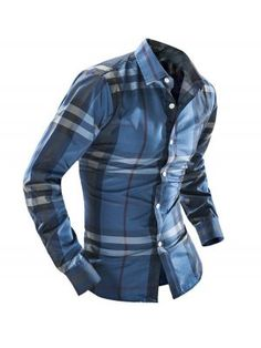 Hot Sale Trendy Men Checkered Fall Turtle Neck Cotton Long Sleeve Shirt 0e6b6ac25b6