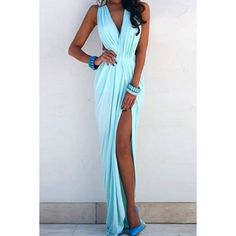 Wholesale Sexy Plunging Neck Sleeveless Hollow Out High Slit Women's Sage Maxi Dress Only $6.40 Drop Shipping   TrendsGal.com