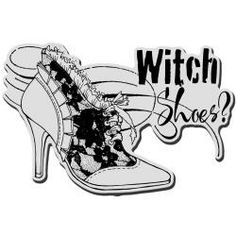 Stampendous Halloween Cling Rubber Stamp - Witch Shoes