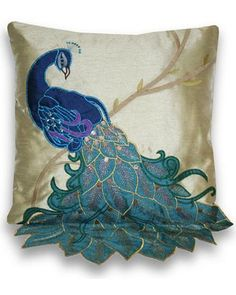 Fancy Peacock Multicolor 16-inch Faux-silk Accent Throw Pillow Visit our Mobile Site