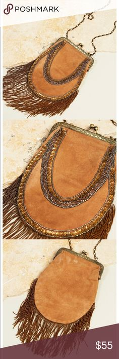 "Free People Crossbody Inspired by decades past this beautiful suede crossbody bag features statement sequin and bead detailing with dramatic fringe trim. Metal kiss lock closure with a lined interior.  Free People  Leather Metal Import Product measurements Width: 6"" = 15.24 cm  